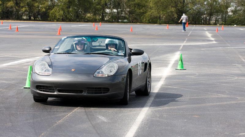 autocrossing Porsche convertible