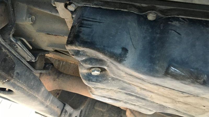 damaged transmission pan
