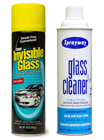 Stoner and Sprayway auto glass cleaners
